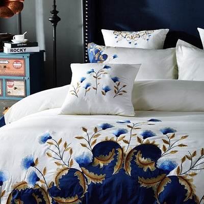 Egyptian Cotton Bedsheet Set With Pillowcase Embroidery