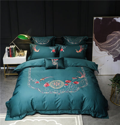 Luxury Golden And Grey Bedding Set Of Egyptian Cotton And Oriental Embroidery