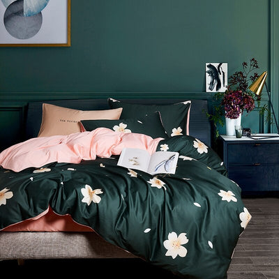 Green Pastoral Luxury Egyptian Cotton Bedding Set | Girls Floral Pure Soft Sheets