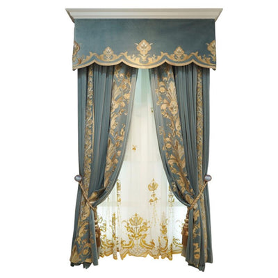 High Quality French Embroidered Velvet Blue Blackout Curtain