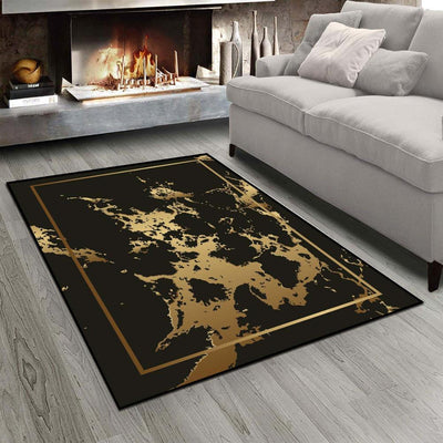 Black Golden And Yellow Abtract Splash 3D Printed Non Slip Microfiber Living Room Carpet, Washable Area Rug Mat