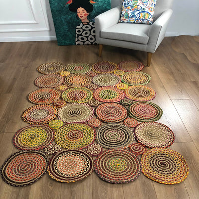 Round Jute Carpet Sisal With Natural Fiber Collection. Hand Woven Natural Jute Area Rug For Home Living Room