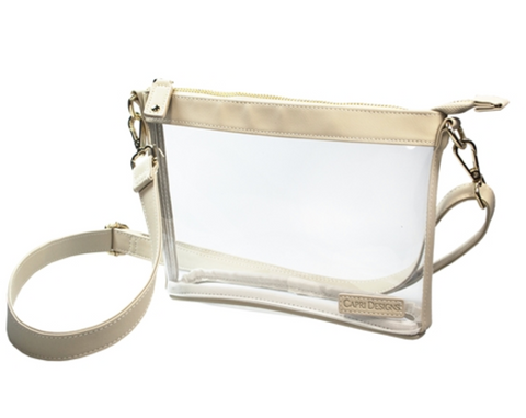 Small Crossbody- Clear PVC with Tan and Gold Accents