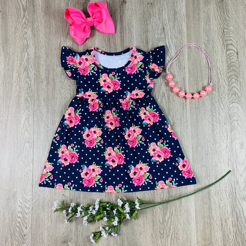 POLKA DOT NAVY FLORAL DRESS