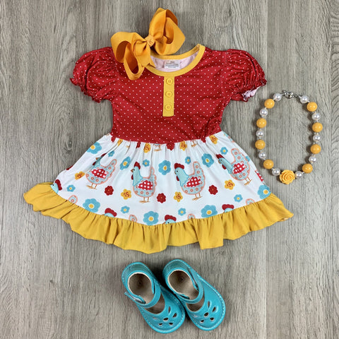RED POLKA DOT AND MUSTARD CHICKEN DRESS