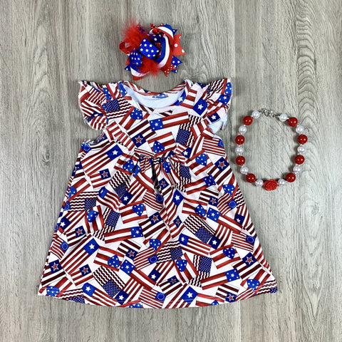TAN AMERICAN FLAG DRESS