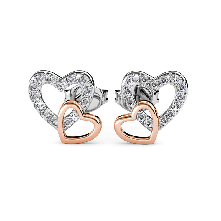Interlocking Heart Crystal Earrings