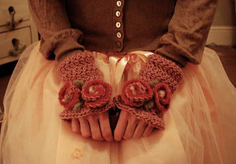 Rosy Wristlettes by Tiny Owl Knits