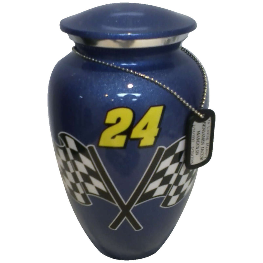 #24 Blue Racing Classic Vase Cremation Urn Shown with Dog Tag  - 232