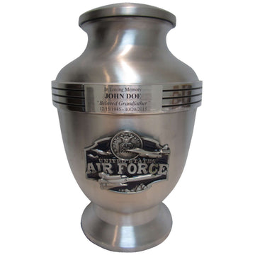 Air Force Jets 3-Ring Aluminum Cremation Urn Shown with 3D Solid Metal Medallion and 1