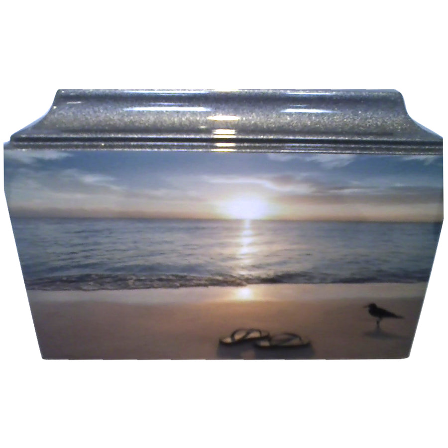 Beach Scene Fiberglass Box Cremation Urn - 616