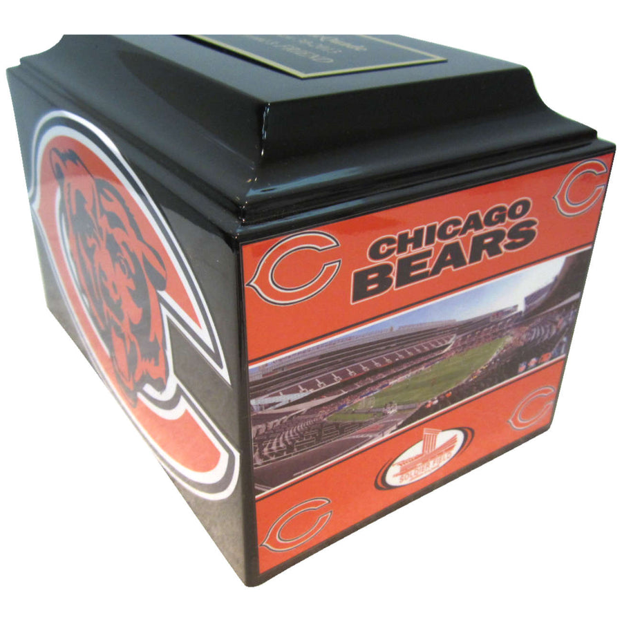Bears Football Fiberglass Box Cremation Urn Shown with Optional Oversized Nameplate - 101