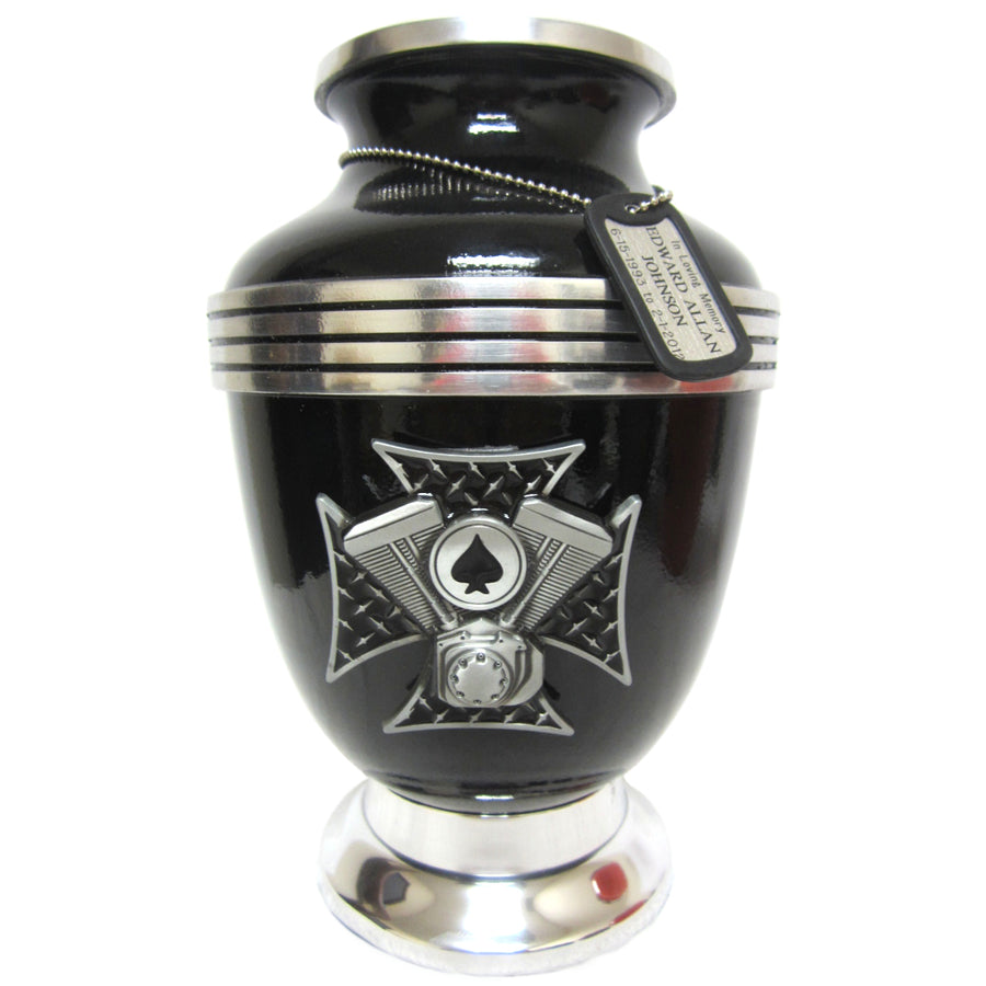 Black Ace of Spades Military 3-Ring Aluminum Cremation Urn Shown with 3D Solid Medallion and Dog Tag - 329