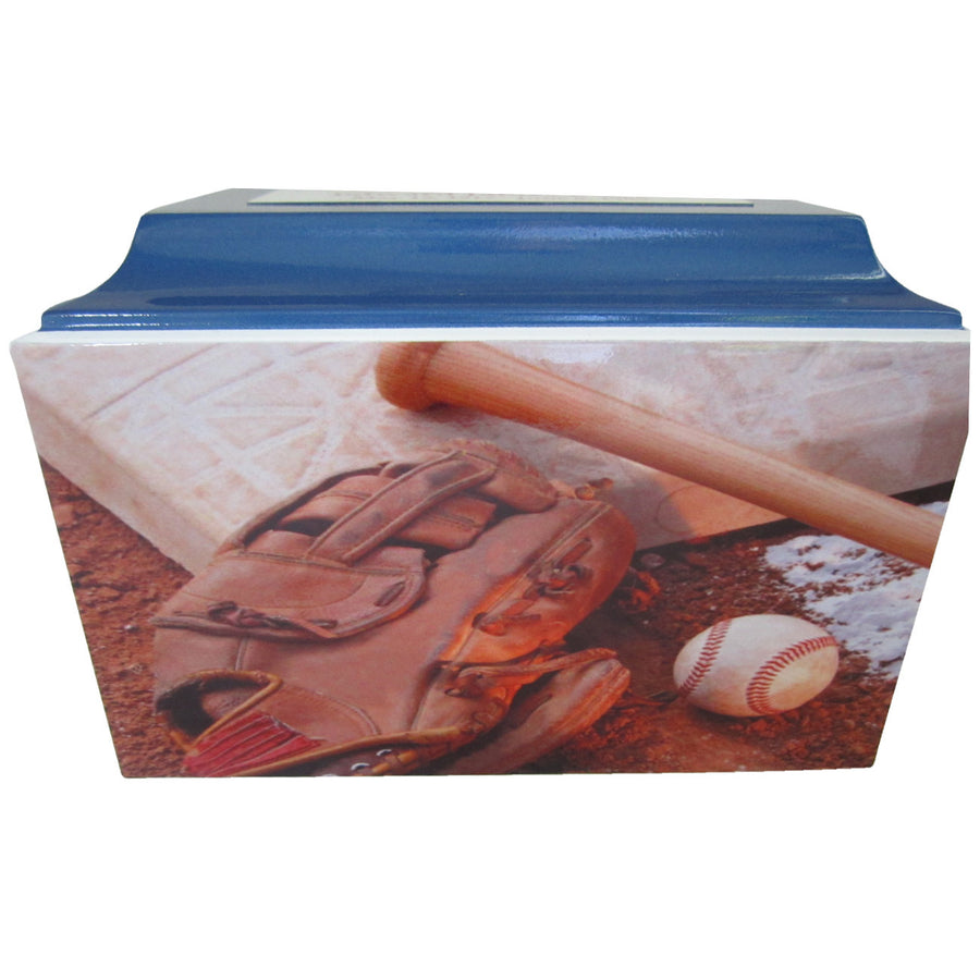 Blue Baseball Fiberglass Box Cremation Urn - 105