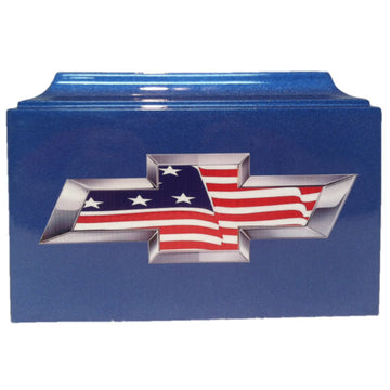 Blue Chevy American Flag Fiberglass Box Cremation Urn - 202