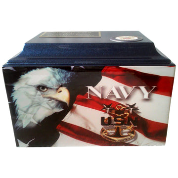 Blue Navy Fiberglass Box Cremation Urn Shown with 2