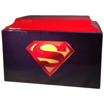 Blue and Red Superman Fiberglass Box Cremation Urn  Shown with 3D Solid Metal Medallion - 853