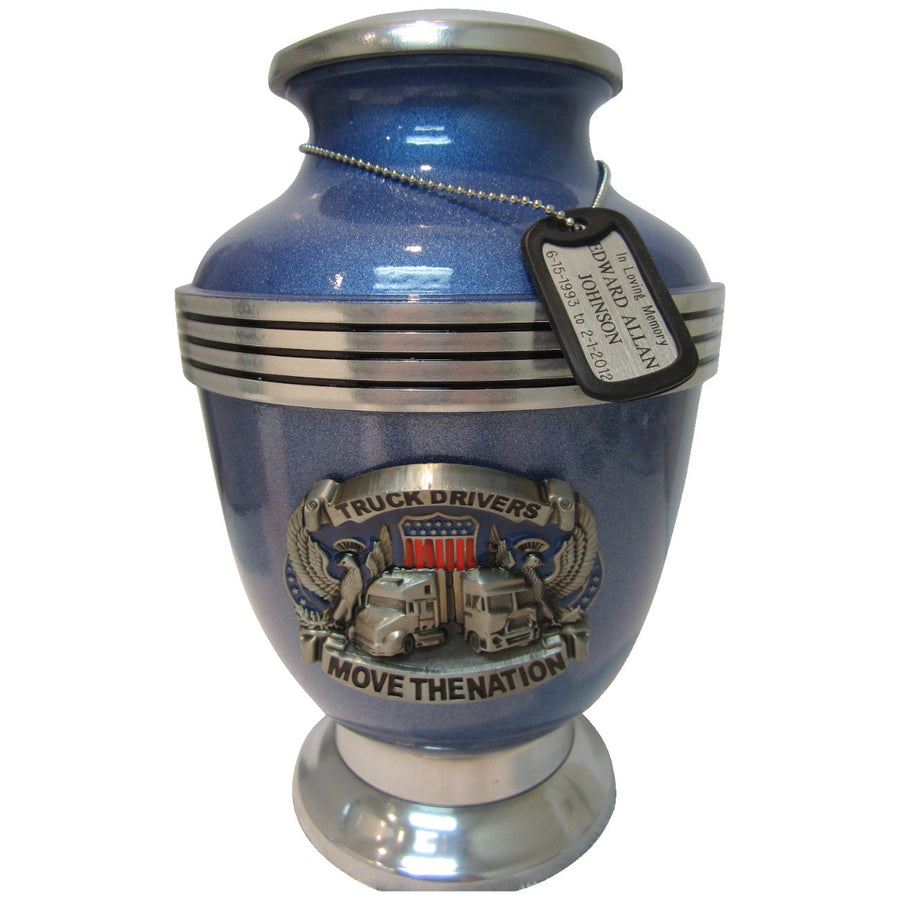 Blue Trucker 3-Ring Aluminum Cremation Urn Shown with Dog Tag  - 229