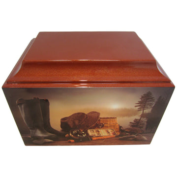Brown Trout Fishing Fiberglass Box Cremation Urn - 513