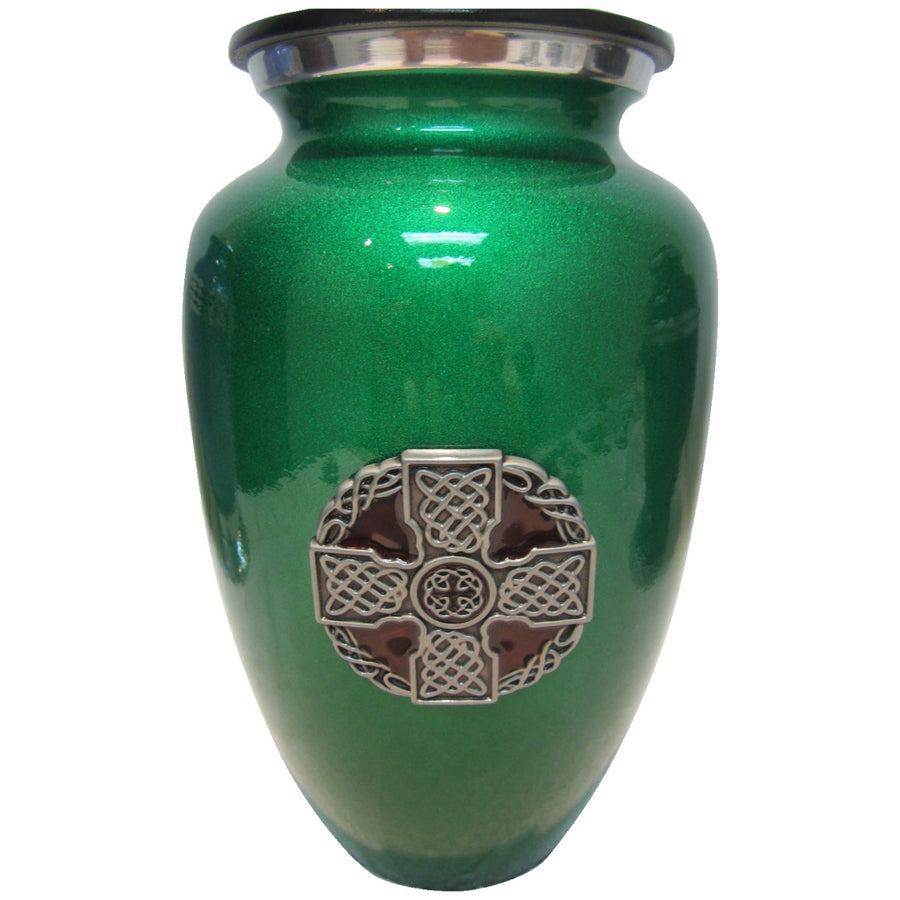 Celtic Cross Green Classic Vase Cremation Urn Shown with  3D Solid Metal Medallion - 606