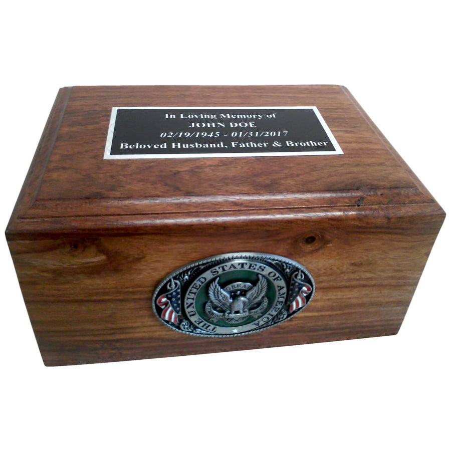Civil Servant Government Employee Wooden Box Cremation Urn Shown with 3D Solid Metal Medallion - 902