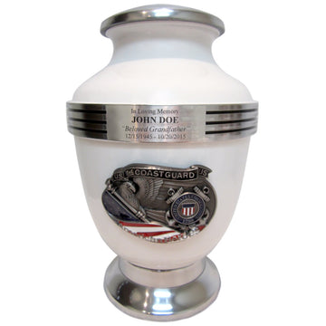 White Coast Guard 3-Ring Aluminum Cremation Urn Shown with 3D Solid Metal Medallion and 1