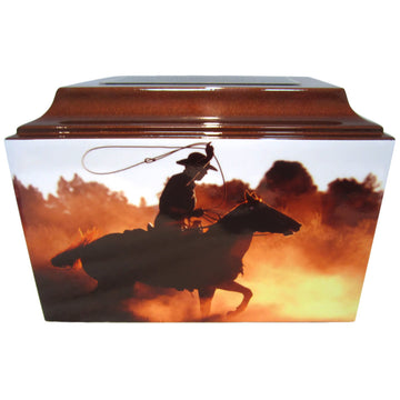 Western Cowboy Horse Riding Fiberglass Box Cremation Urn - 515