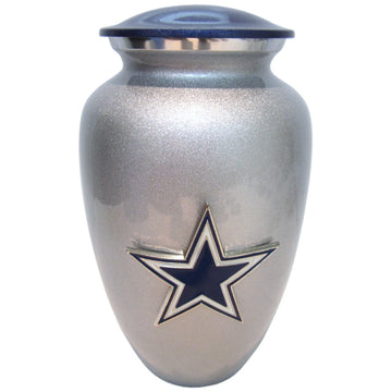 Cowboys Football Classic Vase Cremation Urn Shown with 3D Solid Metal Medallion - 109