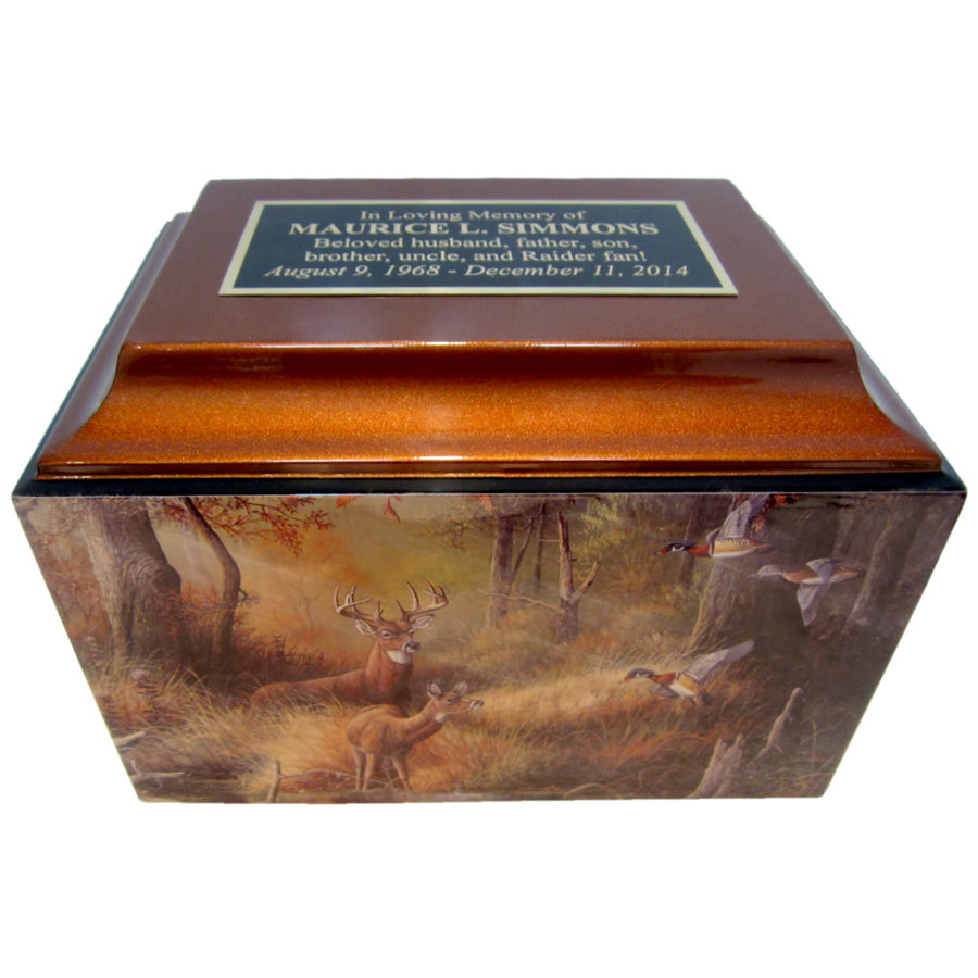 Deer and Duck Hunter Fiberglass Box Cremation Urn - 511