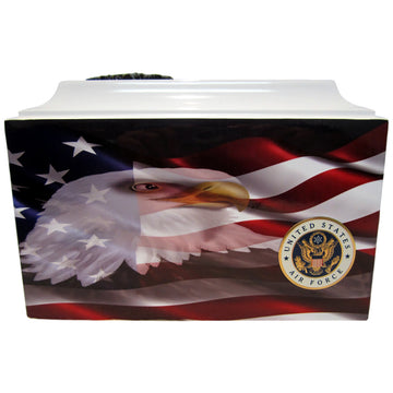 Eagle with American Flag Fiberglass Box Cremation Urn Shown with Small Military Round Solid Medallion - 401