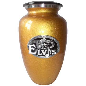 Elvis Gold Classic Vase Cremation Urn Shown with 3D Solid Metal Medallion - 824