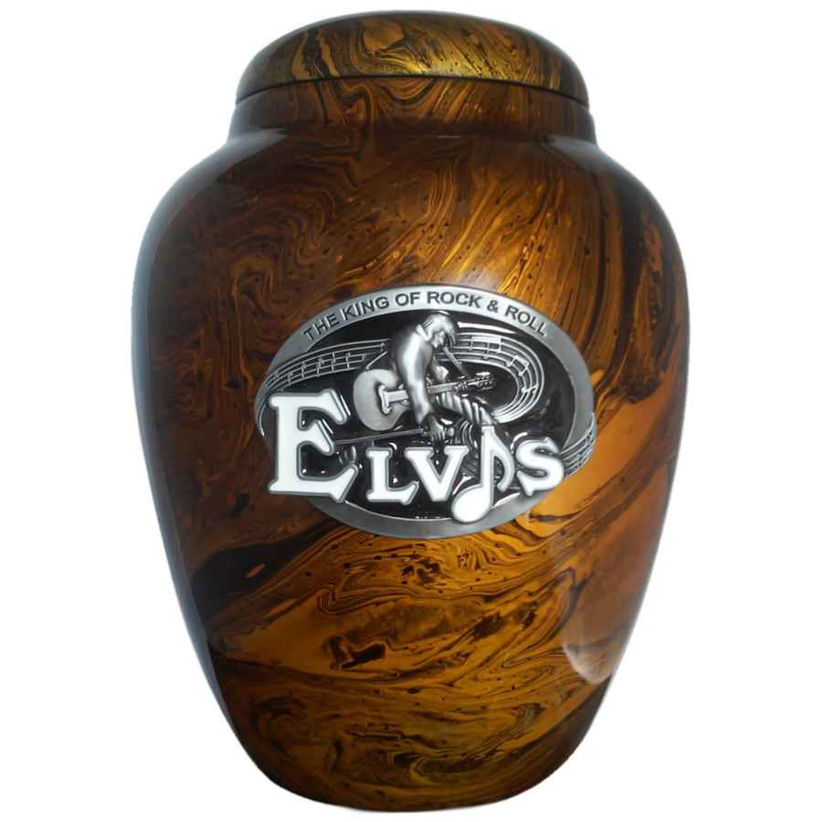 Elvis Presley Extra-Large Vase Cremation Urn Shown with Solid Metal Medallion - 892