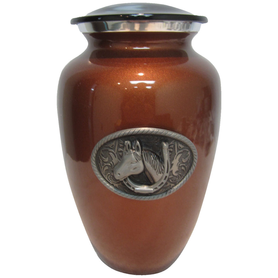 Equestrian Classic Vase Cremation Urn Shown with 3D Solid Metal Medallion - 213