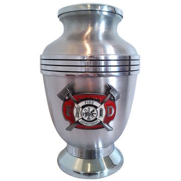 Firefighter 3-Ring Aluminum Cremation Urn Shown with 3D Solid Metal Medallion - 831