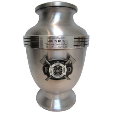 Firefighter Chrome 3-Ring Aluminum Cremation Urn Shown with 3D Solid Metal Medallion - 833