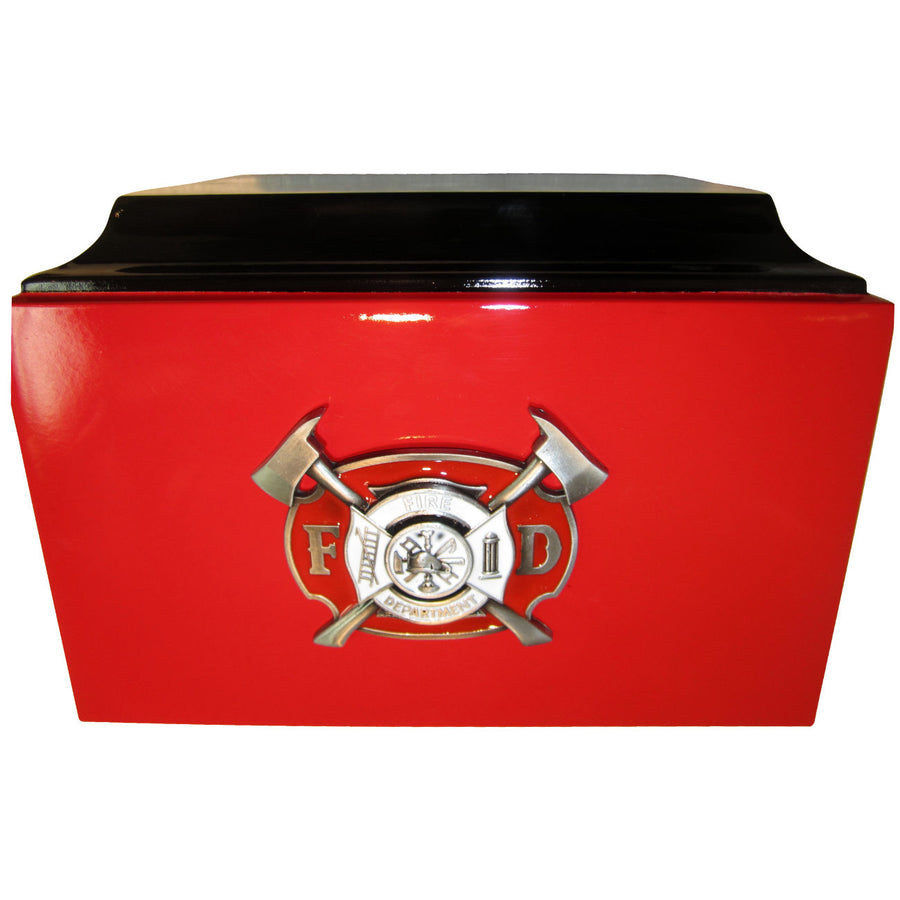 Firefighter 3-Ring Red Metal Cremation Urn - 832