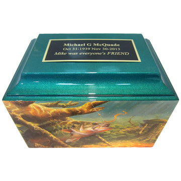 Fishing Fiberglass Box Cremation Urn Shown with Oversized Nameplate - 508
