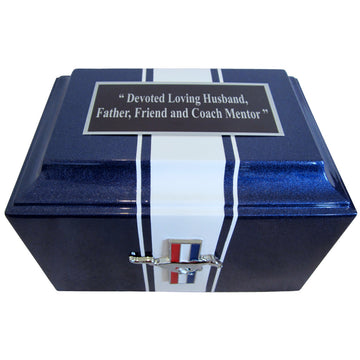 Ford Mustang Fiberglass Box Cremation Urn Shown with Oversized Nameplate - 222