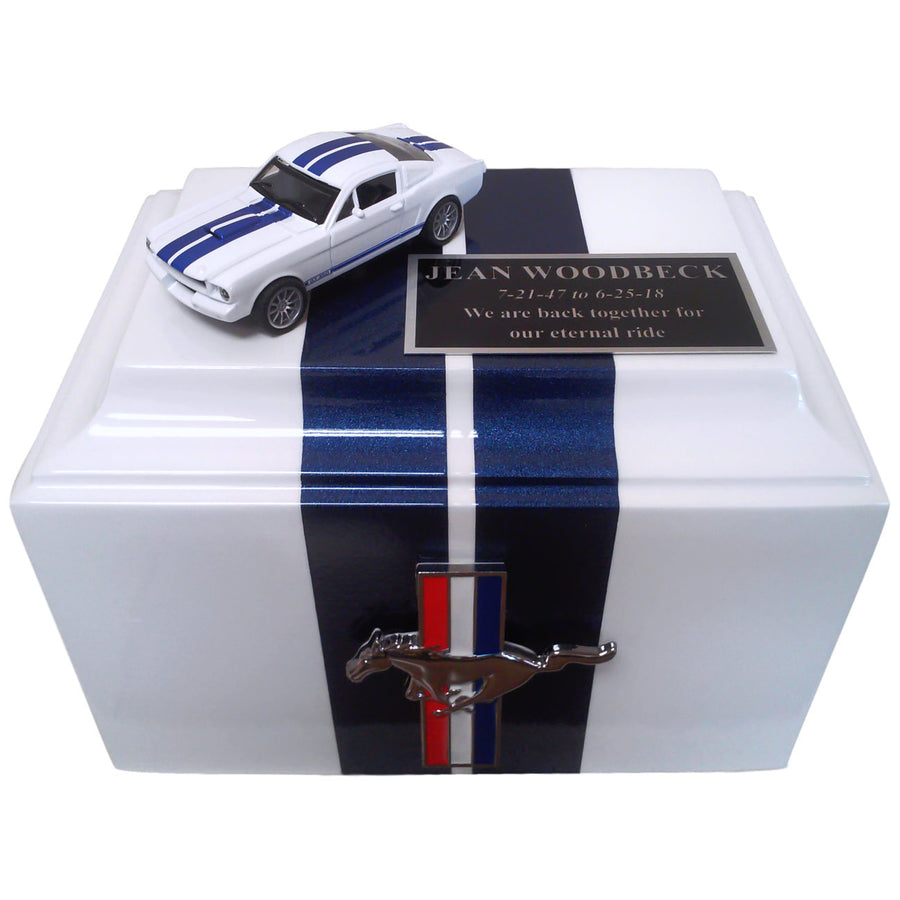 Ford Mustang Fiberglass Box Cremation Urn Shown with 2