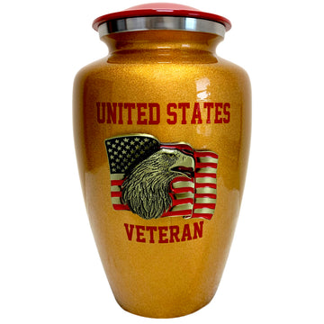 Gold US Veteran Classic Vase Cremation Urn Shown with 3D Solid Metal Medallion - 866