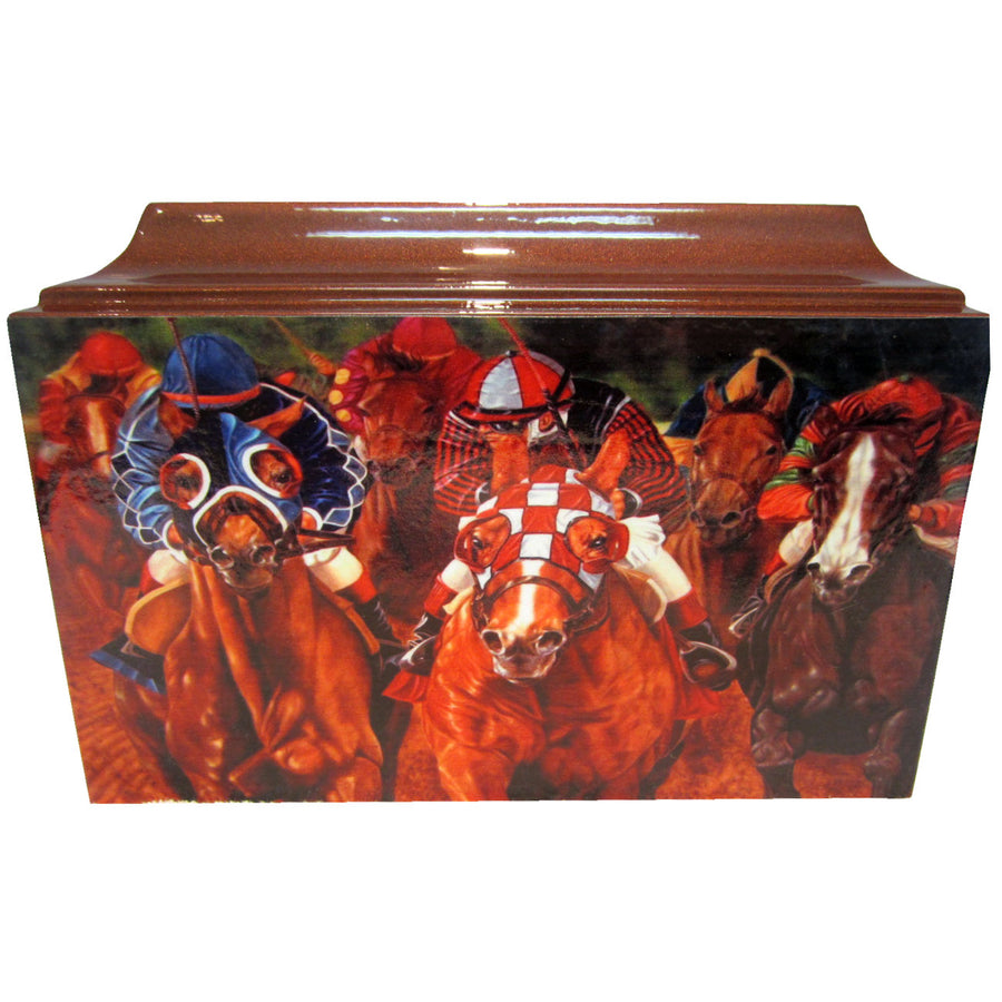 Horse Racing Fiberglass Box Cremation Urn - 203
