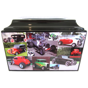 Hot Rod Collage Fiberglass Box Cremation Urn - 223
