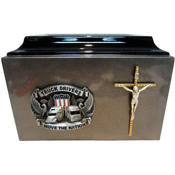 Religious Truck Driver Fiberglass Box Cremation Urn Shown with 3D Solid Metal Medallion - 224