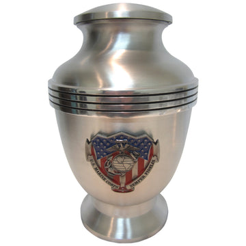 Satin Finished US Patriot 3-Ring Aluminum Cremation Urn Shown with 3D Solid Metal Medallion - 404