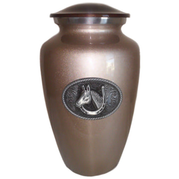 Horse Lover Classic Vase Cremation Urn Shown with 3D Solid Metal Medallion - 520