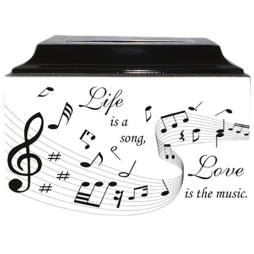 Musical Notes Fiberglass Box Cremation Urn - 888