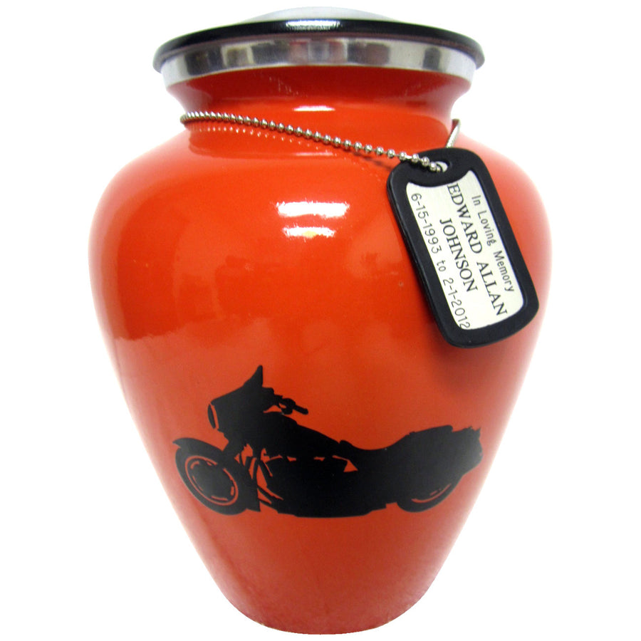Orange Biker Niche Cremation Urn Shown with Dog Tag  - 304