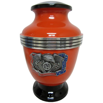 Orange Biker V-Twin Chrome Eagle 3-Ring Aluminum Cremation Urn Shown with  Gas Cap Lid  - 325