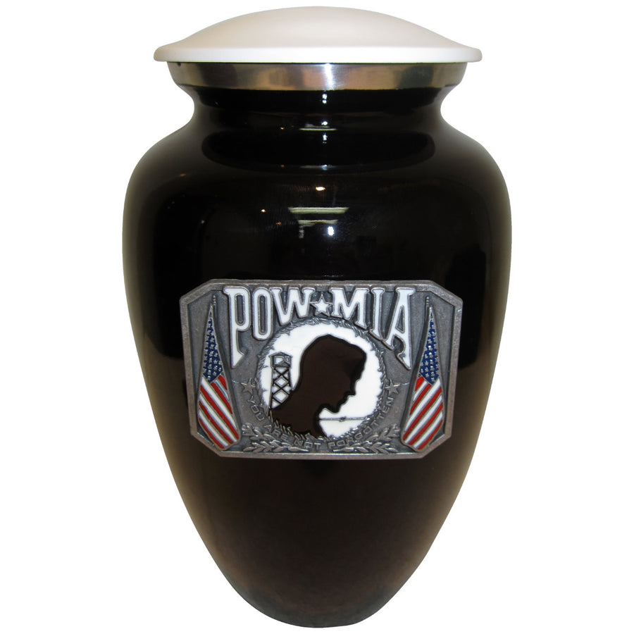 POW-MIA Black and White Classic Vase Cremation Urn Shown with 3D Solid Metal Medallion - 842