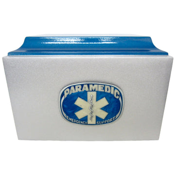 Paramedic Silver & Blue Fiberglass Box Cremation Urn Shown with 3D Solid Metal Medallion - 834